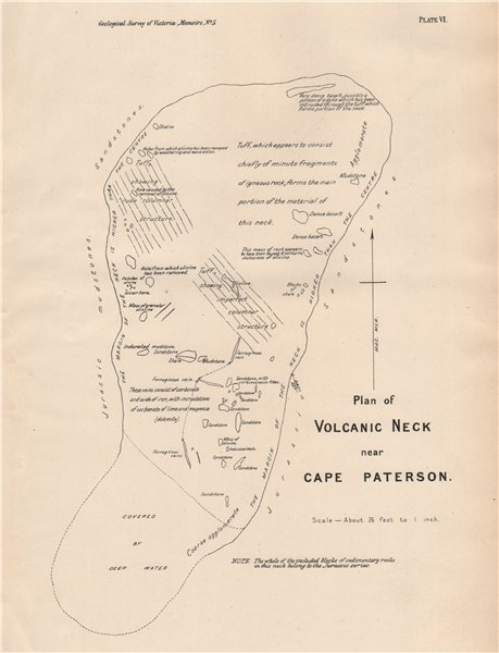 Associate Product Plan of Volcanic Neck near Cape Paterson. Victoria, Australia. Mining 1909 map