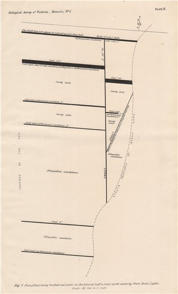 Associate Product Faulted coal seam near Point Lydia, Victoria, Australia. Mining 1909 old map