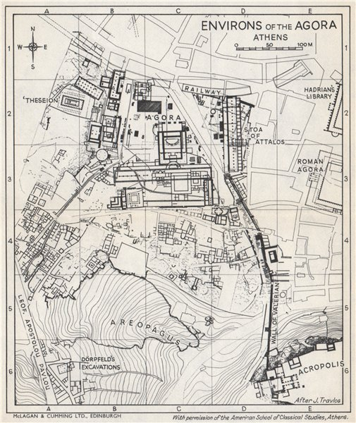 Associate Product THE AGORA & environs ground plan. Athens, Greece 1967 old vintage map chart