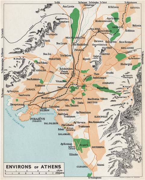 ATHENS ENVIRONS vintage map plan. Piraeus. Greece 1967 old vintage chart