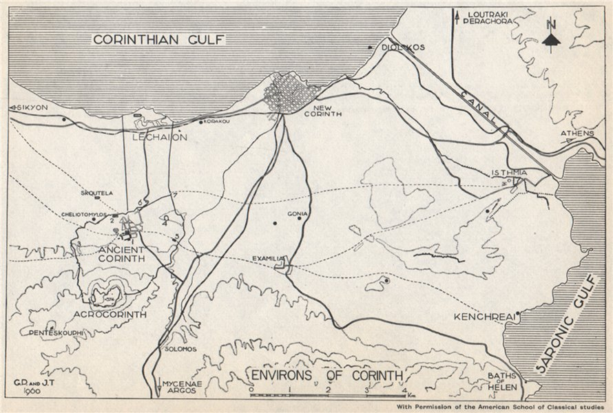 Associate Product Environs of CORINTH. Canal. New/Ancient Corinth. Greece 1967 old vintage map
