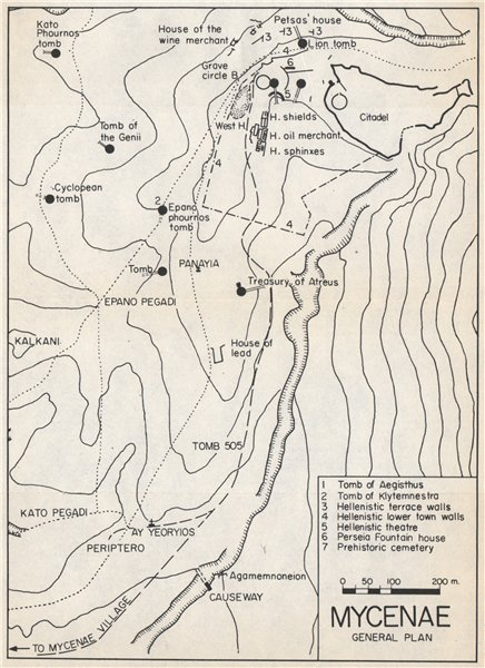 Associate Product MYCENAE vintage ground plan. Peloponnese, Greece 1967 old vintage map chart