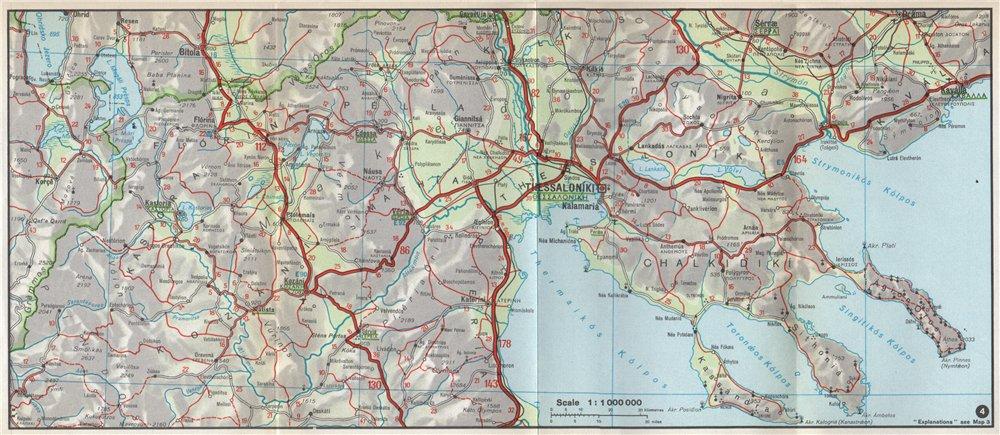 Associate Product WESTERN MACEDONIA. Thessaloniki. Chalcidice Chalkidiki Florina. Greece 1967 map