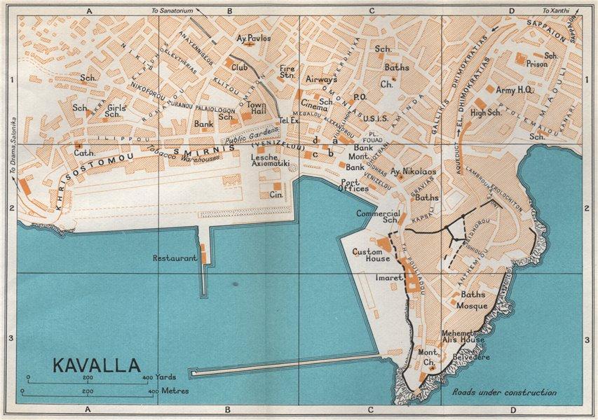 Associate Product KAVALA vintage town city map plan. Macedonia, Greece 1967 old vintage