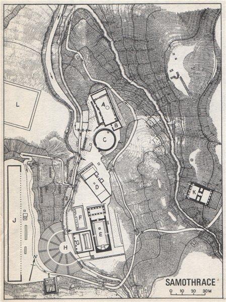 PALAEPOLI vintage ground plan, Samothrace. Greece 1967 old vintage map chart