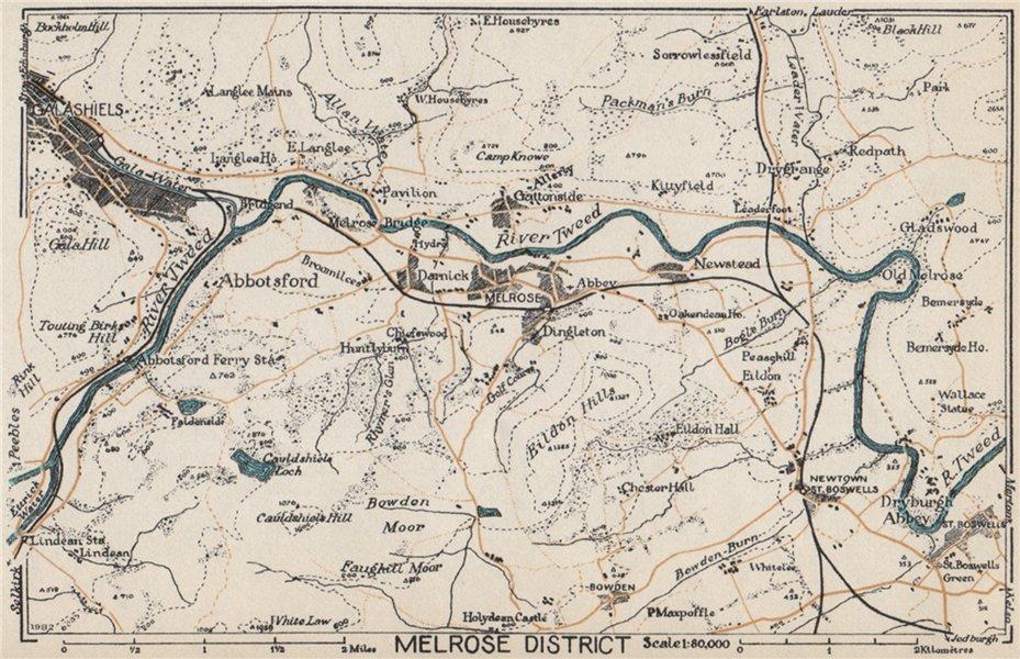 Associate Product MELROSE DISTRICT. Vintage map plan. Galashiels Abbotsford Tweed. Scotland 1959
