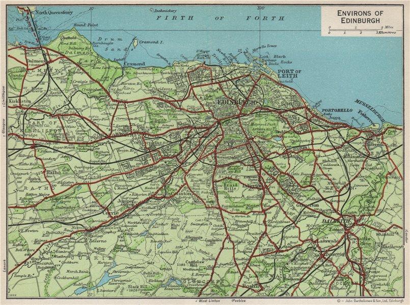 Associate Product ENVIRONS OF EDINBURGH. Vintage map plan. Leith Dalkeith Scotland 1959 old