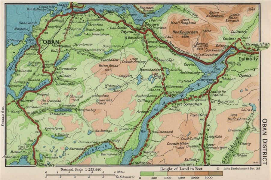 Associate Product OBAN DISTRICT. Vintage map plan. Argyll & Bute. Loch Awe. Scotland 1959