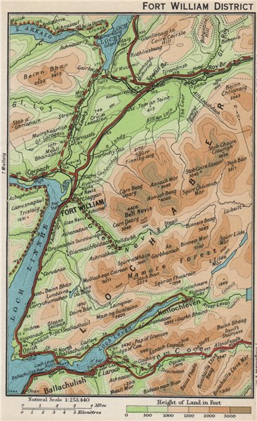 FORT WILLIAM DISTRICT. Vintage map plan. Ballachulish. Scotland 1959 old