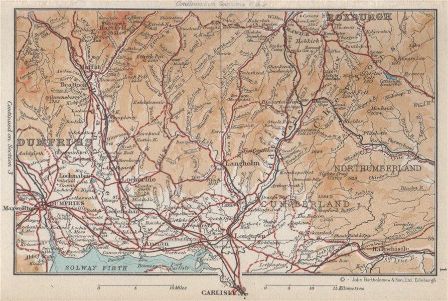 Associate Product DUMFRIES & GALLOWAY. Vintage map plan. Cheviot Hills. Scotland Carlisle 1959