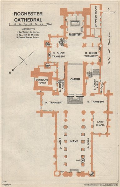 Associate Product ROCHESTER cathedral vintage floor plan. Kent 1957 old vintage map chart