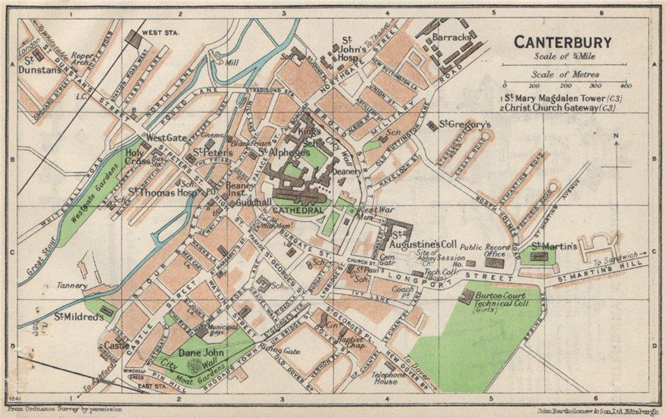 Associate Product CANTERBURY. Vintage town city map plan. Kent 1957 old vintage chart