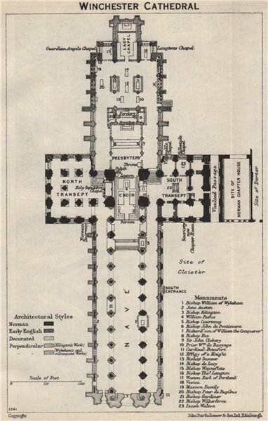 Associate Product Winchester Cathedral floor plan. Hampshire 1957 old vintage map chart