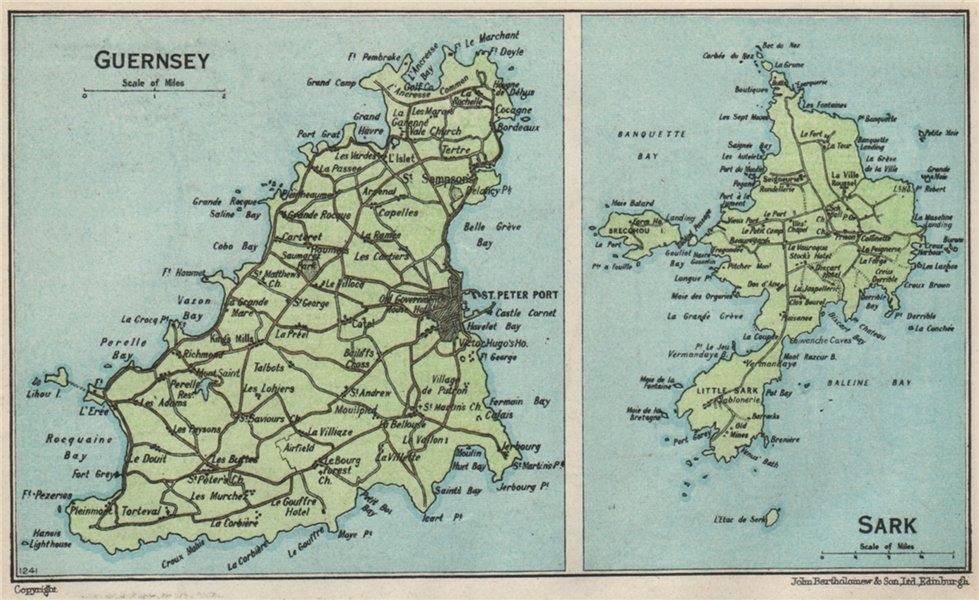 Associate Product GUERNSEY & SARK. Vintage map plan. Channel Islands. St Peter Port 1957 old