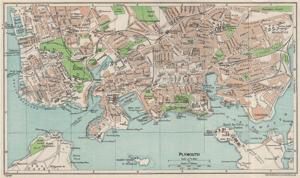 Associate Product PLYMOUTH. Vintage town city map plan. Devonport Stonehouse. Devon 1957 old