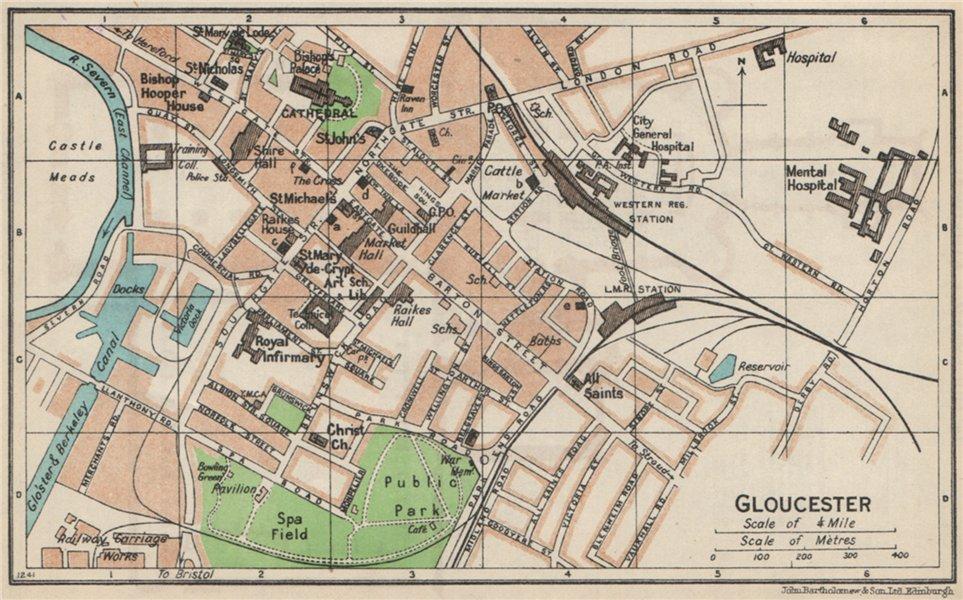 Associate Product GLOUCESTER. Vintage town city map plan. Gloucestershire 1957 old vintage