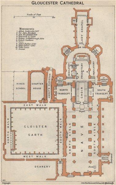 Associate Product GLOUCESTER cathedral vintage floor plan. Gloucestershire 1957 old vintage map