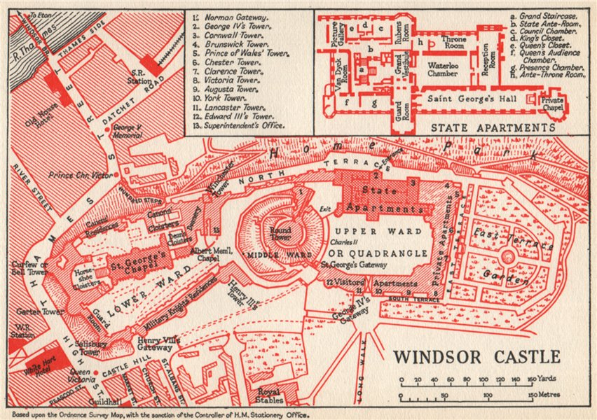 WINDSOR CASTLE. Vintage map plan. Berkshire 1957 old vintage chart