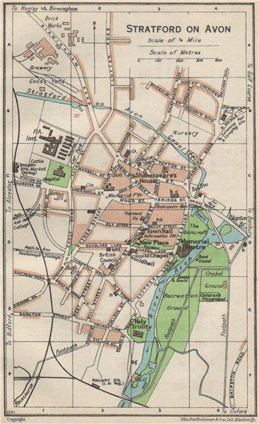 Associate Product STRATFORD ON AVON. Vintage town city map plan. Warwickshire 1957 old