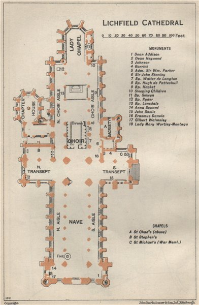 Associate Product LICHFIELD cathedral vintage floor plan. Staffordshire 1957 old vintage map