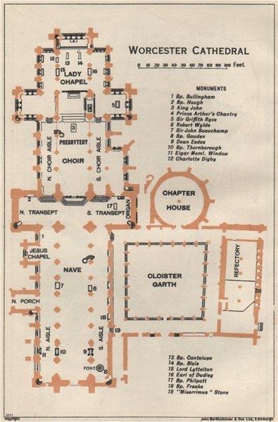 Associate Product WORCESTER cathedral vintage floor plan. Worcestershire 1957 old vintage map
