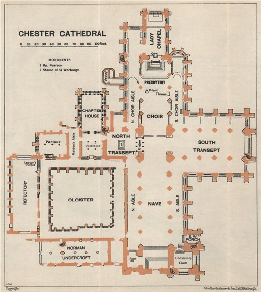 Associate Product CHESTER cathedral vintage floor plan. Cheshire 1957 old vintage map chart