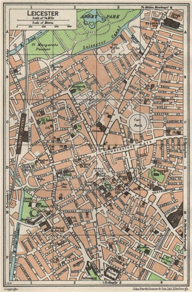 Associate Product LEICESTER. Vintage town city map plan. Leicestershire 1957 old vintage