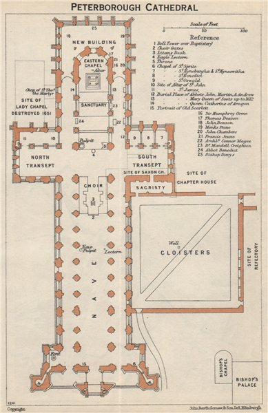 Associate Product PETERBOROUGH cathedral vintage floor plan. Northamptonshire 1957 old map