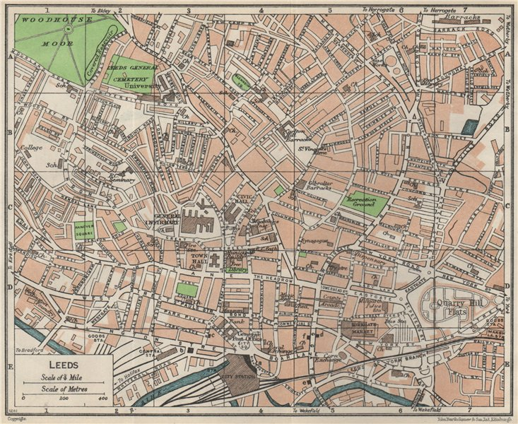 Associate Product LEEDS. Vintage town city map plan. Yorkshire 1957 old vintage chart