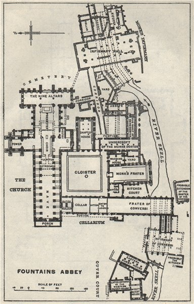 Associate Product Fountains Abbey ground plan. Yorkshire 1957 old vintage map chart