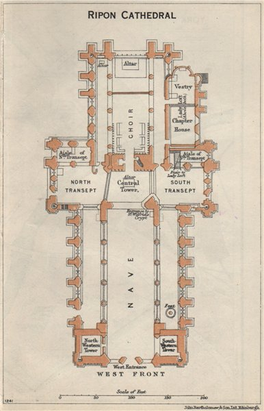 Associate Product RIPON cathedral vintage floor plan. Yorkshire 1957 old vintage map chart