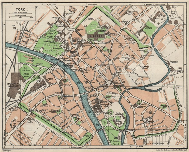 Associate Product YORK. Vintage town city map plan. Yorkshire 1957 old vintage chart