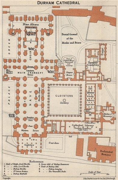 Associate Product DURHAM cathedral vintage floor plan.  1957 old vintage map chart