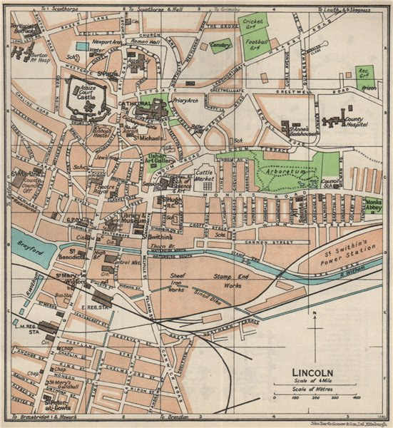 Associate Product LINCOLN. Vintage town city map plan. Lincolnshire 1957 old vintage chart
