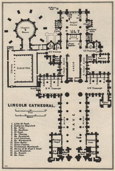 Associate Product Lincoln cathedral floor plan. Lincolnshire 1957 old vintage map chart