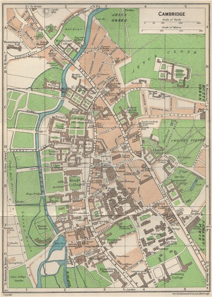 Associate Product CAMBRIDGE. Vintage town city map plan. Cambridgeshire. Colleges 1957 old