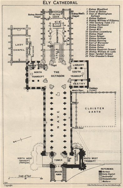 Associate Product Ely cathedral floor plan. Cambridgeshire 1957 old vintage map chart