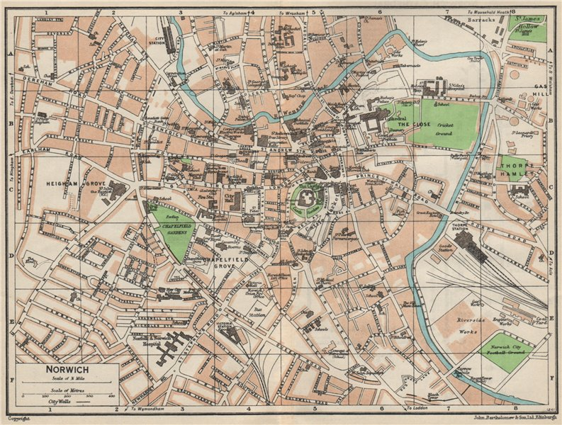 Associate Product NORWICH. Vintage town city map plan. Norfolk 1957 old vintage chart