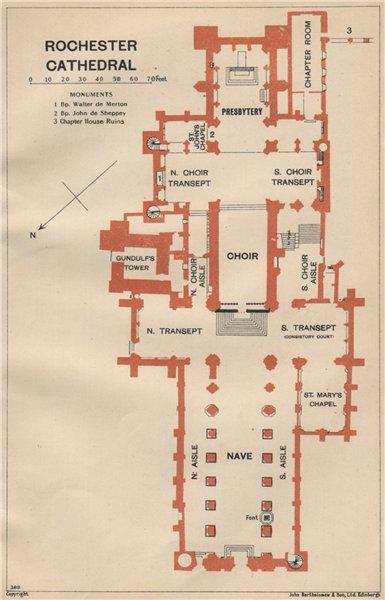 ROCHESTER cathedral vintage floor plan. Kent 1939 old vintage map chart