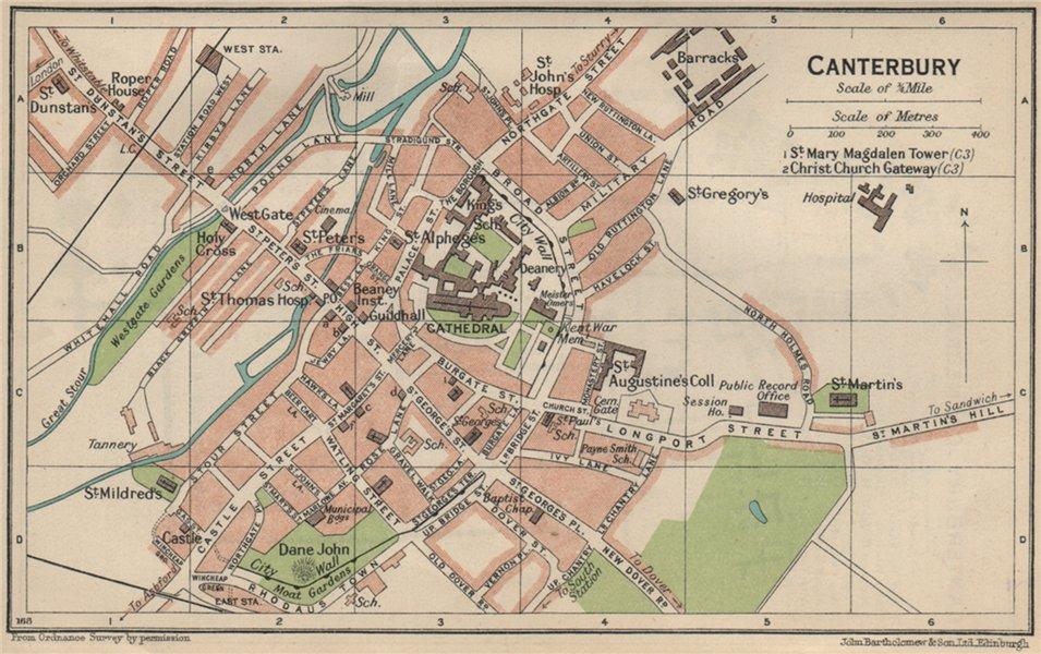 Associate Product CANTERBURY. Vintage town city map plan. Kent 1939 old vintage chart