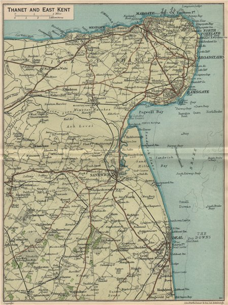 Associate Product THANET & EAST KENT. Sandwich Deal Ramsgate Margate Broadstairs 1939 old map