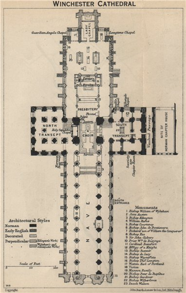 Winchester cathedral floor plan. Hampshire 1939 old vintage map chart