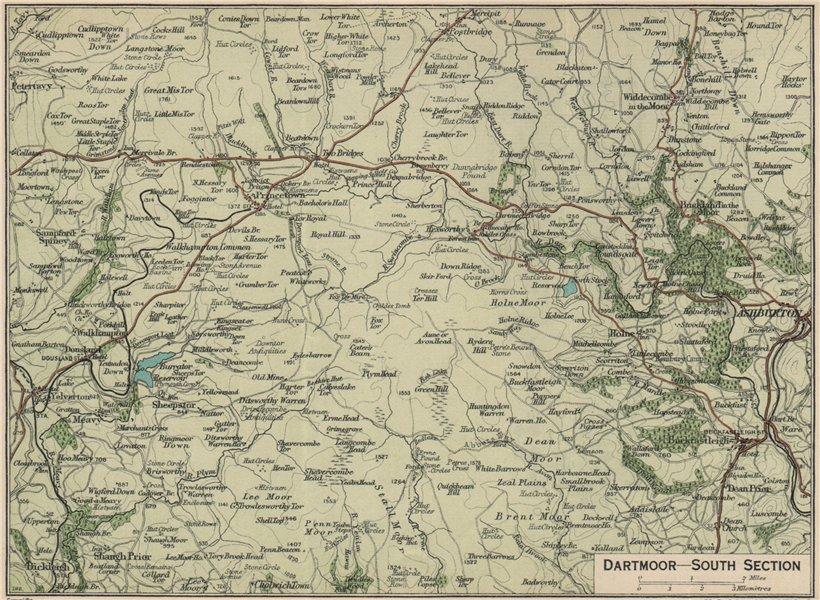 Associate Product DARTMOOR SOUTH. Ashburton Buckfastleigh Yelverton. Vintage map plan. Devon 1939