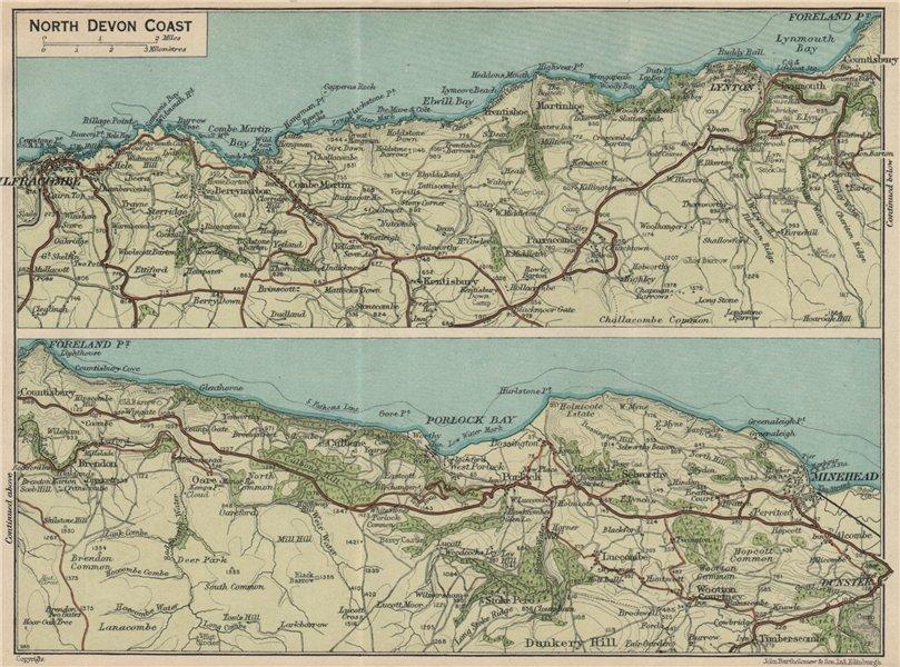 NORTH DEVON COAST. Ilfracombe-Lynton-Minehead. Vintage map plan 1939 old