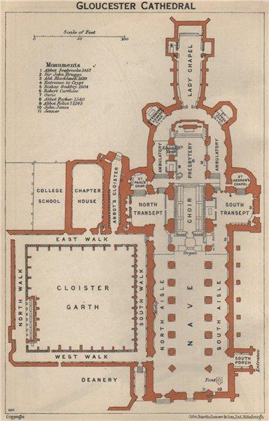 GLOUCESTER cathedral vintage floor plan. Gloucestershire 1939 old vintage map