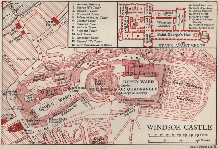 Associate Product WINDSOR CASTLE. Vintage map plan. Berkshire 1939 old vintage chart