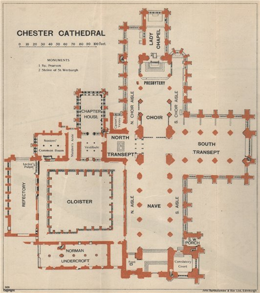 Associate Product CHESTER cathedral vintage floor plan. Cheshire 1939 old vintage map chart