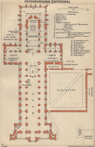Associate Product PETERBOROUGH cathedral vintage floor plan. Northamptonshire 1939 old map