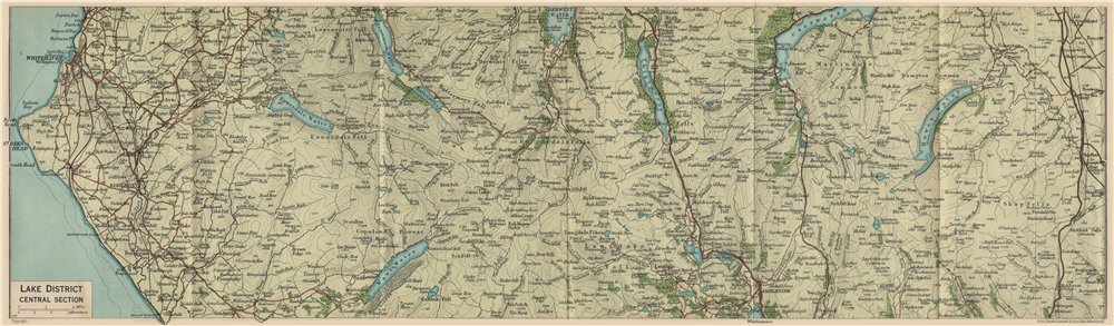 Associate Product LAKE DISTRICT CENTRE Ullswater Ambleside Thirlmere Borrowdale Cumbria 1939 map