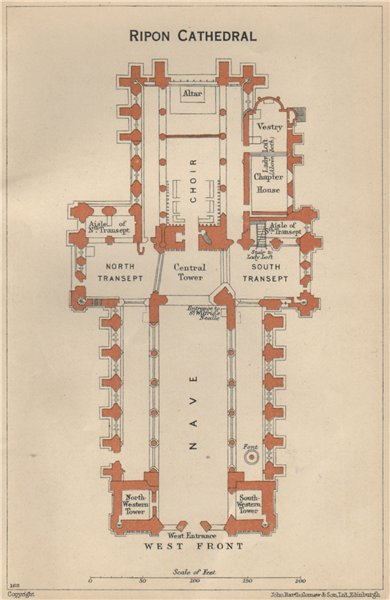 Associate Product RIPON cathedral vintage floor plan. Yorkshire 1939 old vintage map chart